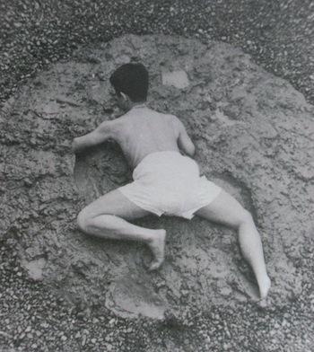 """Kazuo Shiraga, """"Challenging Mud,"""" 1955"""
