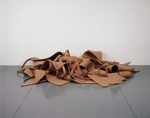 """Robert Morris, """"Untitled (Pink Felt,"""" 1970. Photo from  the Guggenheim."""