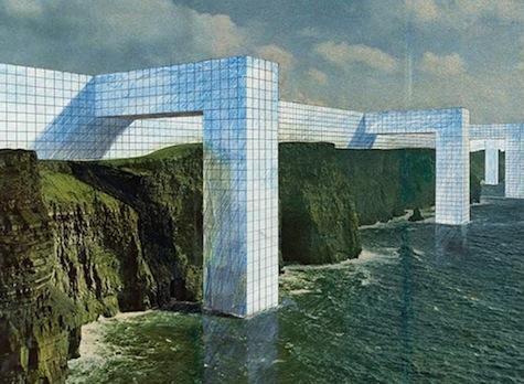 Photo-collage of Superstudio's Il Monumento Continuo, 1969