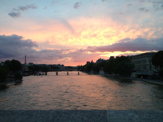 The sunset over the Seine