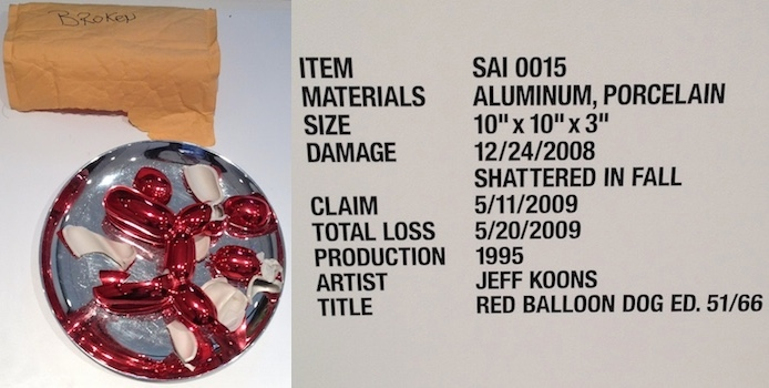 [Left:] Jeff Koons, Red Balloon Dog Ed. 51/66; [Right:] Description of item and its damage