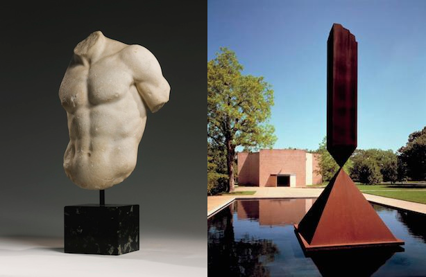 [Left:] Marble Torso of a god or Athlete, Roman Imperial, ca. 1st or 2nd century AD; [Right:] Barnett Newman, Broken Obelisk (1964-67)