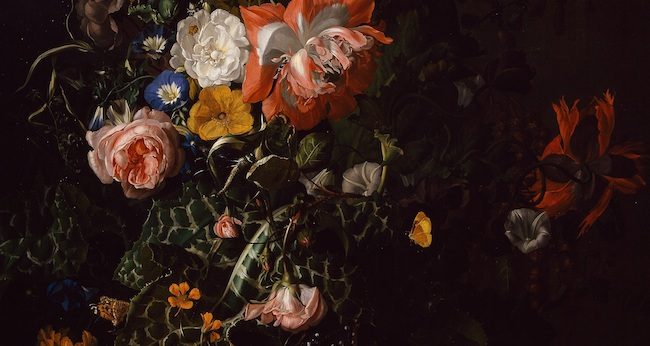 Rachel Ruysch, Roses, Convolvulus, Poppies and Other Flowers in an Urn on a Stone Ledge (ca. 1680) [detail]